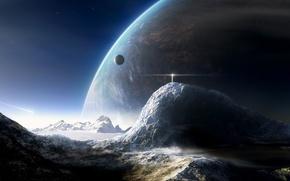 Обои луна, маяк, гора