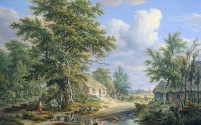 Картинка пейзаж, картина, Эгберт ван Дрилст, Фермы на Краю Леса