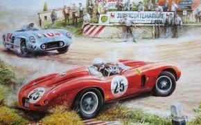 Обои гонки, спортивные, автомобили, люди, Рисунок