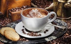 Обои чашка, печенье, капучино, кофе, пена, поднос, блюдце, латте-арт, зерна, турка, узор, шкафчик