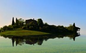 Картинка озеро, деревья, дом, остров
