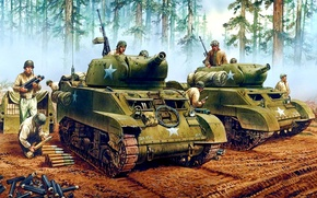 Картинка лес, деревья, рисунок, арт, солдаты, САУ, подготовка, WW2, танкисты, американские, самоходно-артиллерийские установки, с короткоствольной 75-мм …