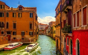 Картинка Venezia, Venice, Италия, мостик, дома, канал, катер, Венеция, небо, Italy