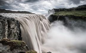 Картинка тучи, скалы, водопад, поток, Обои