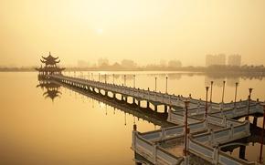 Картинка вода, Мост, закат