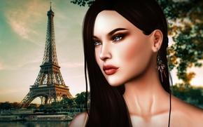 Картинка девушка, лицо, волосы, башня, париж, красотка
