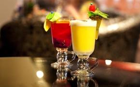 Картинка ягоды, стаканы, фрукты, напитки, коктейли