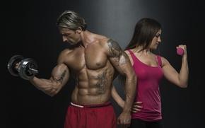 Картинка тату, татуировка, мышцы, muscles, пресс, tattoos, гантели, training, bodybuilding, abs, dumbbell, dumbbells, bodybuilder, hard work, …