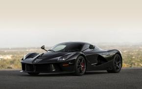 Картинка Ferrari, Car, Black, Super, Road, LaFerrari