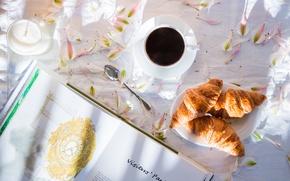 Картинка настроение, кофе, лепестки, книга, круассаны