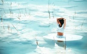 Картинка море, девушка, соль, dead sea