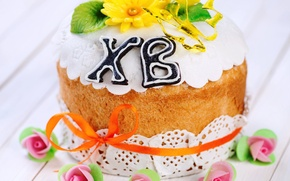 Картинка цветы, Пасха, cake, кулич, выпечка, глазурь, Easter