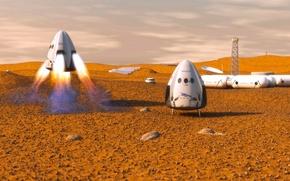 Картинка Марс, космический корабль, транспортный, частный, Dragon SpaceX