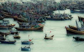 Картинка ocean, asia, people, boats, ships, BUSY HARBOUR VIETNAM