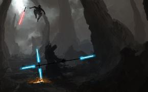 Обои star wars, мечи, рисунок, джедай, ситх, световые