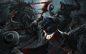 Обои Bloodborne, кровь, монстр, FromSoftware, art