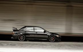 Обои Двери, Машина, Mitsubishi, Lancer Evolution, Авто, Черный, Вид сбоку, Speed, Скорость