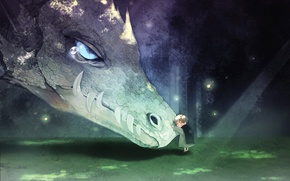 Картинка Аниме, фентези, дракон, малыш, друзья