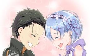 Картинка романтика, аниме, арт, двое, Субару, Re: Zero kara Hajimeru Isekai Seikatsu, Рем