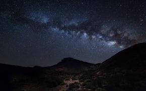 Картинка космос, звезды, горы, силуэт, Млечный Путь, тайны