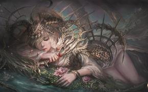 Картинка girl, blood, fantasy, armor, weapon, Warrior, art, flowers, painting, blonde, artwork, chains, dagger