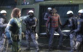 Картинка дождь, вертолет, Snake, crossover, Metal Gear Solid, Jack, Naked Snake, mgs, kojima productions, Ground Zeroes, ...