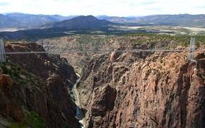 Картинка небо, горы, мост, река, каньон, ущелье