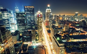 Картинка ночь, огни, нью-йорк, Night, New York City, usa, manhattan, nyc, Times Square, 8th avenue