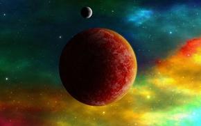 Картинка космос, планеты, звёзды, цветной