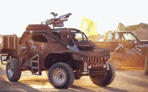 Картинка пустыня, пулемет, автомобиль, Post-Apocalyptic