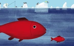 Картинка море, рыбы, картина