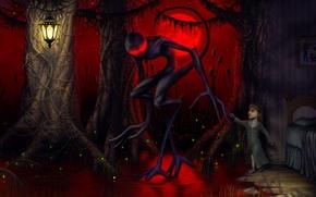 Картинка монстр, камыш, девочка, фонарь, rob sheridan, другой мир
