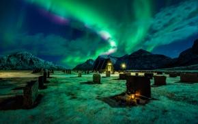 Обои кладбище, северное сияние, горы, ночь