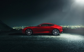 Картинка Jaguar, Dark, City, Red, Car, Coupe, Side, F-Type R, Nigth