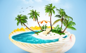 Картинка море, пальмы, креатив, зонт, раковина, шезлонг, островок