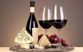 Картинка вино, бокал, бутылка, сыр, виноград, оливки, штопор