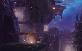 Обои небо, звезды, ночь, город, дома, аниме, арт, фонари, пар, девочка, телескоп, popopo5656