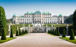 Картинка дизайн, Австрия, деревья, кусты, фонтаны, дворец, скульптуры, Vienna, газон