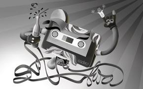 Картинка касета, черно-белая, лента