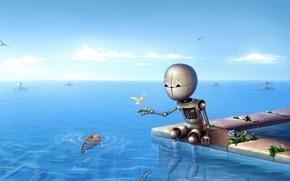Обои море, горизонт, Робот, рыбки