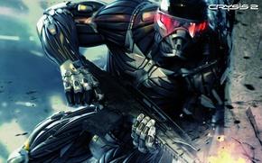 Картинка оружие, боец, нанокостюм, CRYSIS 2
