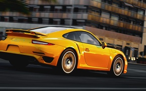 Картинка дорога, город, скорость, Порше, Porsche 911, Turbo S