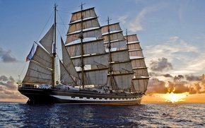 Картинка море, закат, корабль, парусник, вечер