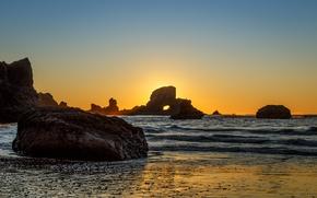 Обои рассвет, Indian Beach, скалы, пляж, Oregon