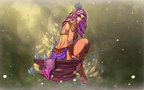 Картинка девушка, цветы, ноги, камень, эльф, тело, красота, арт, blume elf
