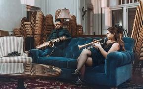 Картинка girl, blue, man, living room, sofa, velvet, saxophone, musicians, trumpet