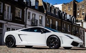 Картинка белый, небо, здание, Lamborghini, white, gallardo, sky, ламборгини, building, lp560-4