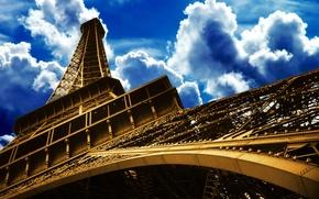 Картинка небо, Париж, день, Эйфелева башня