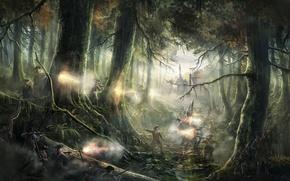 Картинка лес, оружие, бой, солдаты, Empire: Total War