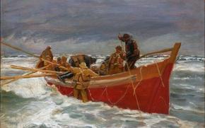 Картинка море, небо, шторм, лодка, картина, рыбаки, Michael Ancher